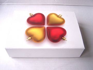 Luxury White Hearts Bauble Christmas Present Gift Box 8.25x6x2""